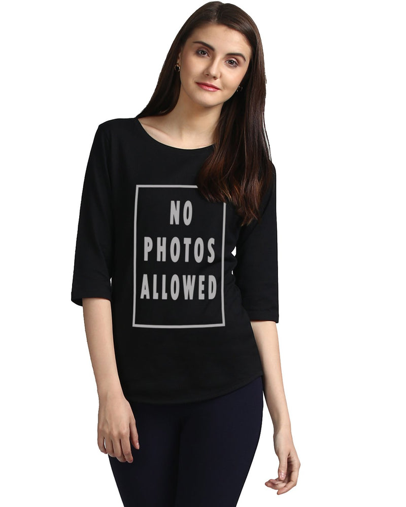 Womens 34U Nophoto  Printed Black Color Tshirts