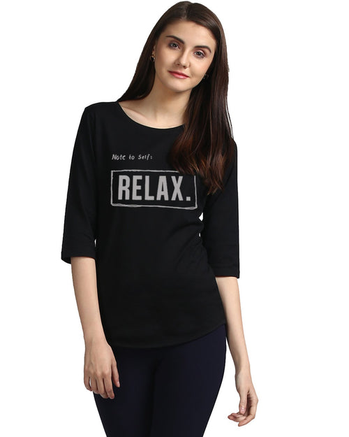 Womens 34U Noterelax Printed Black Color Tshirts