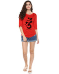 Womens 34U Omm Printed Red Color Tshirts