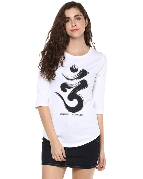 Womens 34U Omm Printed White Color Tshirts