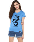 Womens Half Sleeve Omm Printed Blue Color Tshirts