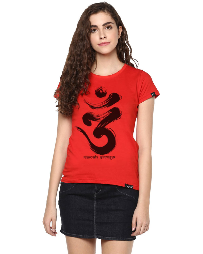 Womens Half Sleeve Omm Printed Red Color Tshirts
