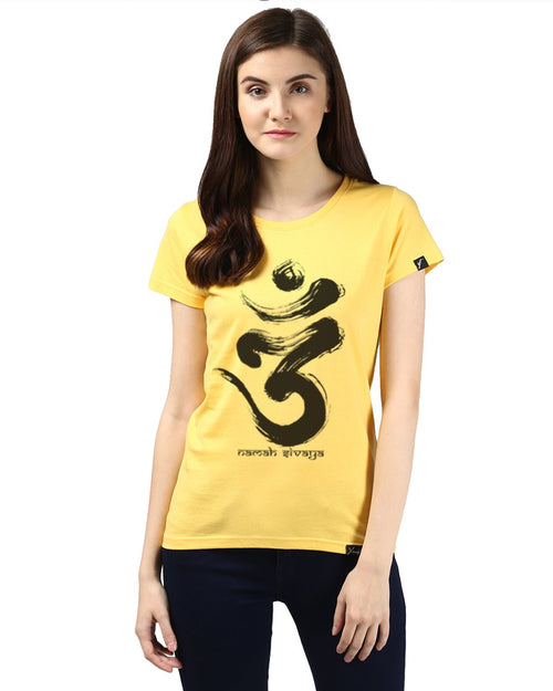 Womens Half Sleeve Omm Printed Yellow Color Tshirts