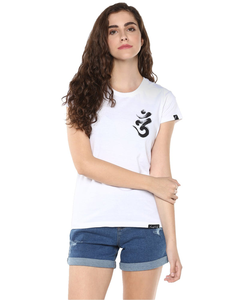 Womens Half Sleeve Ommtrishul Printed White Color Tshirts