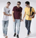 Young Trendz Mens Combo Ommtri White Color Fbi Maroon Color and Open Yellow Color Half Sleeve Printed T-Shirts