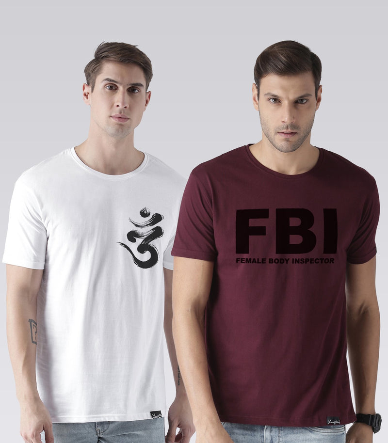 Young Trendz Mens Combo Ommtrisul White Color and Fbi Maroon Color Half Sleeve Printed T-Shirts