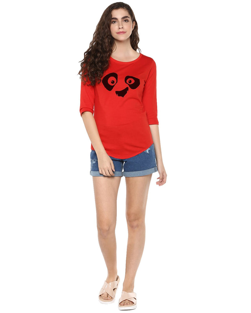 Womens 34U Pandaeyes Printed Red Color Tshirts