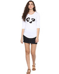 Womens 34U Pandaeyes Printed White Color Tshirts