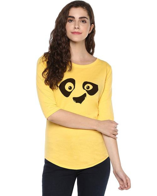 Womens 34U Pandaeyes Printed Yellow Color Tshirts