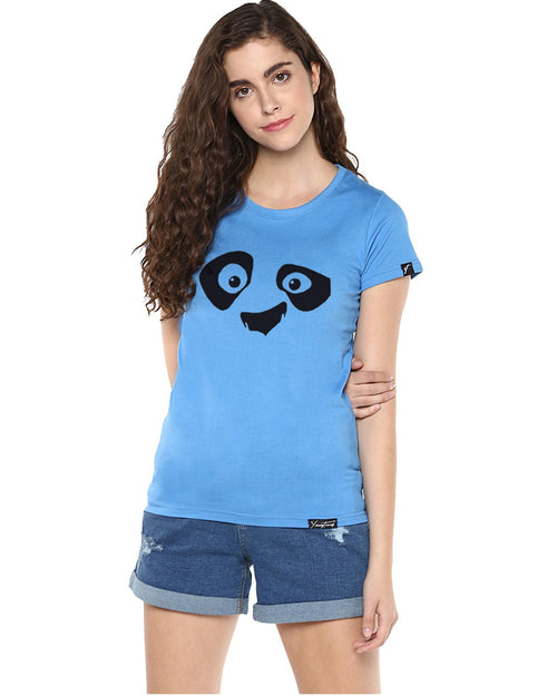 Womens Half Sleeve Pandaeyes Printed Blue Color Tshirts