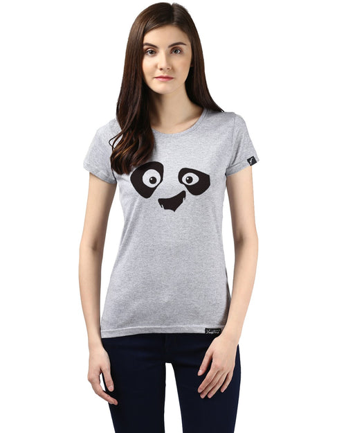 Womens Half Sleeve Pandaeyes Printed Grey Color Tshirts