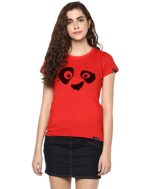 Womens Half Sleeve Pandaeyes Printed Red Color Tshirts