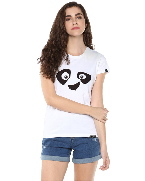 Womens Half Sleeve Pandaeyes Printed White Color Tshirts