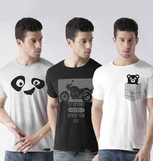 Young Trendz Mens Combo Pandaeyes Grey Color Bike Black Color and Teddy White Color Half Sleeve Printed T-Shirts