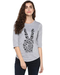 Womens 34U Peace Printed Grey Color Tshirts