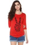 Womens 34U Peace Printed Red Color Tshirts
