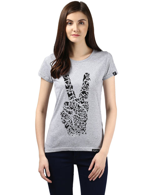 Womens Half Sleeve Peace Printed Grey Color Tshirts