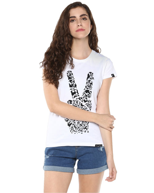 Womens Half Sleeve Peace Printed White Color Tshirts