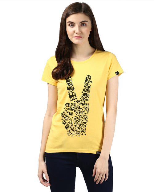 Womens Half Sleeve Peace Printed Yellow Color Tshirts