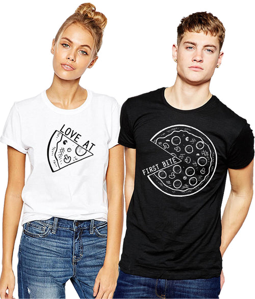 Young Trendz Bio-Wash Cotton Half Sleeve PIZZA Couple Graphic Printed MULTICOLOR T-Shirt