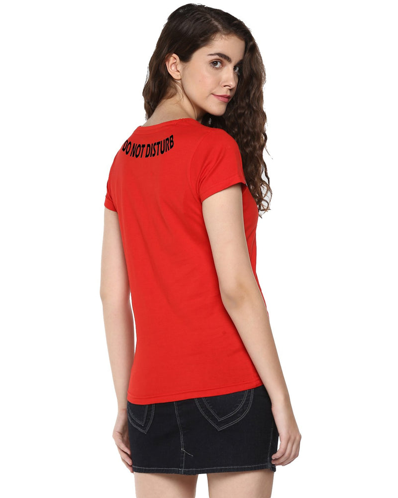 Womens Half Sleeve DND Printed Red Color Tshirts