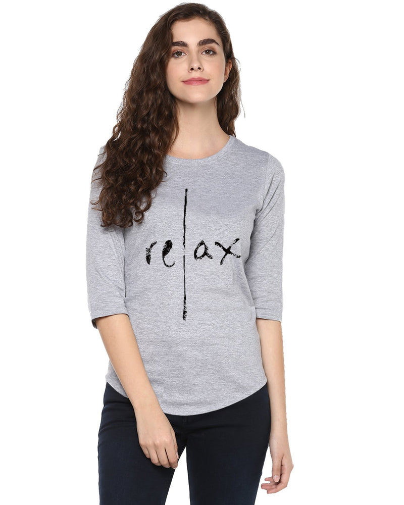 Womens 34U Relax Printed Grey Color Tshirts