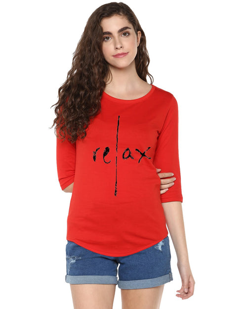 Womens 34U Relax Printed Red Color Tshirts