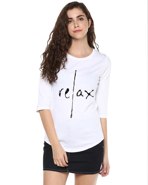 Womens 34U Relax Printed White Color Tshirts