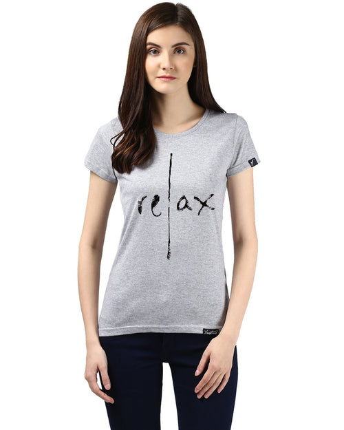 Womens Half Sleeve Relax Printed Grey Color Tshirts