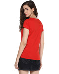 Womens Half Sleeve Relax Printed Red Color Tshirts