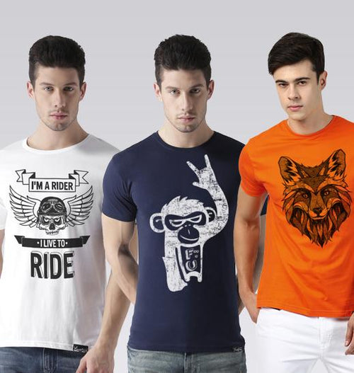 Young Trendz Mens Combo Rider White Color Monkey Navy Color and Line Orange Color Half Sleeve Printed T-Shirts