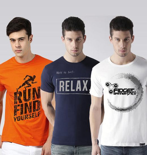 Young Trendz Mens Combo RUN Orange Color Nrelax Navy Color and Prospin White Color Half Sleeve Printed T-Shirts