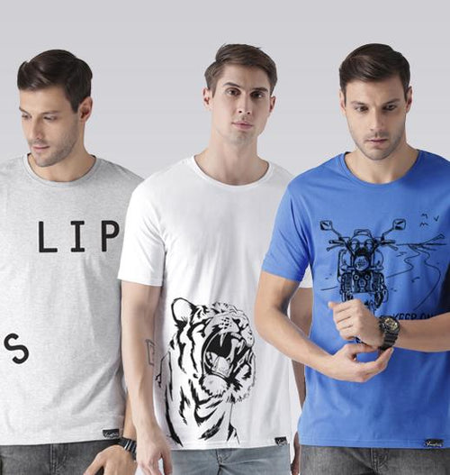 Young Trendz Mens Combo Slip Grey Color Tiger White Color and keepon Sky blue Color Half Sleeve Printed T-Shirts