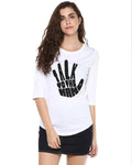 Womens 34U Talk Printed White Color Tshirts