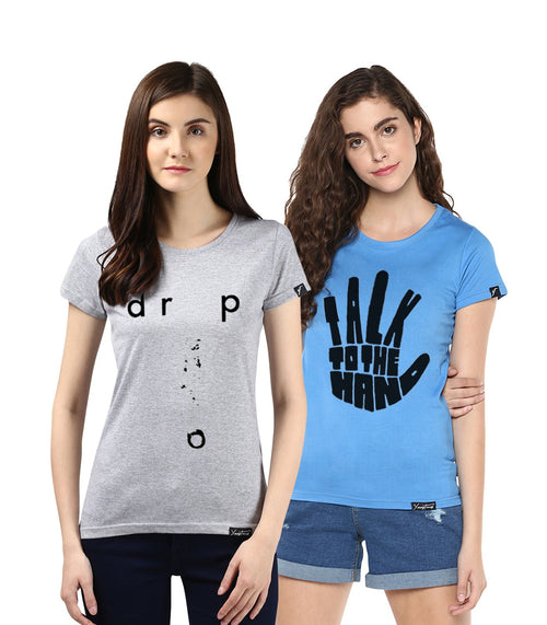 Young Trendz Womens Combo Half Sleeve Talk Printed Skyblue Color and Drop Printed Grey Color Tshirts