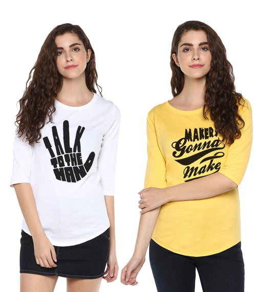 Young Trendz Womens Combo 3/4th Sleeve Talk Printed White Color and Maker Printed Yellow Color Tshirts