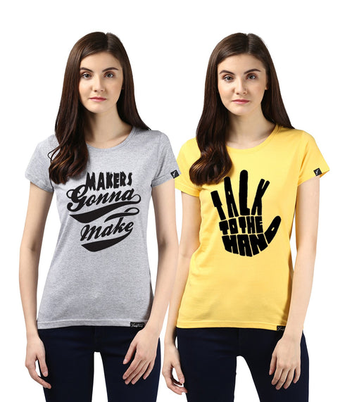 Young Trendz Womens Combo Half Sleeve Talk Printed Yellow Color and Maker Printed Grey Color Tshirts