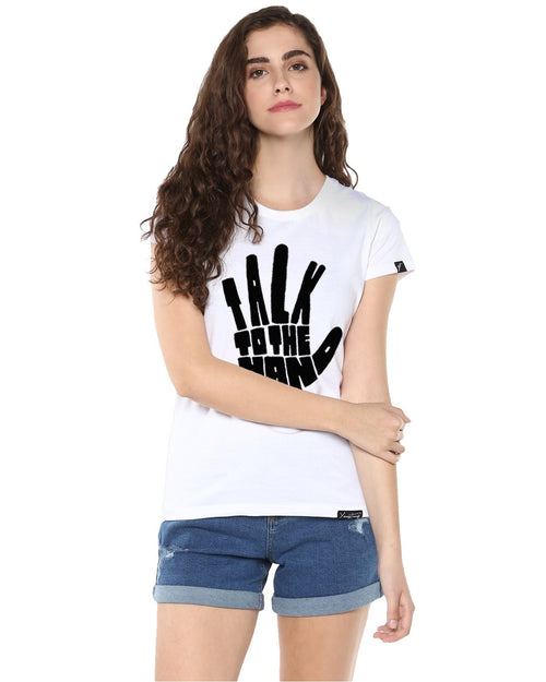 Womens Half Sleeve Talk Printed White Color Tshirts