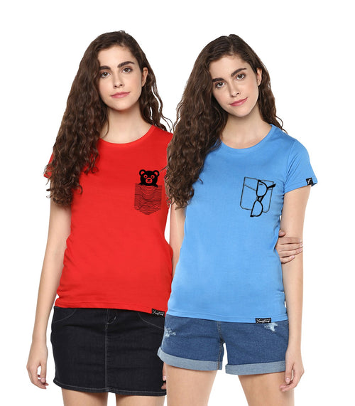 Young Trendz Womens Combo Half Sleeve Teddy Printed Red Color and Glass Printed Skyblue Color Tshirts