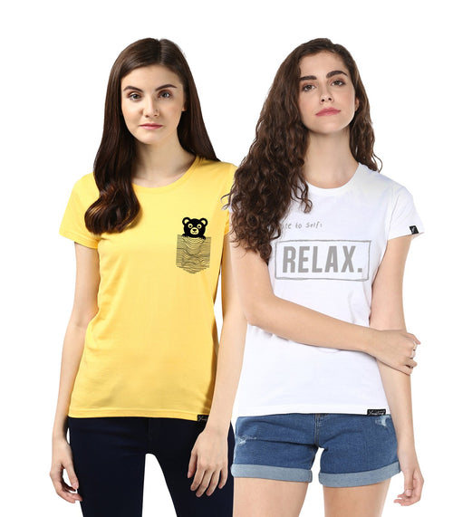 Young Trendz Womens Combo Half Sleeve Teddy Printed Yellow Color and Noterelax Printed White Color Tshirts