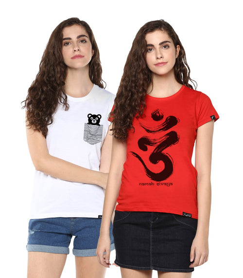 Young Trendz Womens Combo Half Sleeve Teddy Printed White Color and Omm Printed Red Color Tshirts
