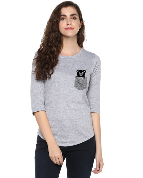 Womens 34U Teddybear Printed Grey Color Tshirts