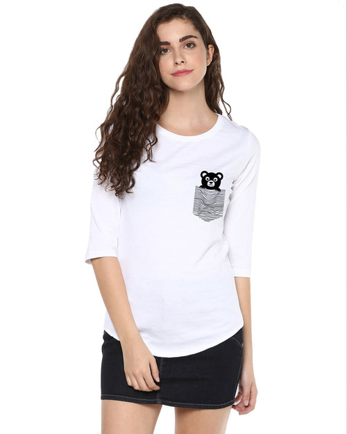 Womens 34U Teddybear Printed White Color Tshirts