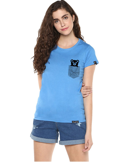 Womens Half Sleeve Teddybear Printed Blue Color Tshirts
