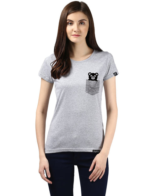 Womens Half Sleeve Teddybear Printed Grey Color Tshirts
