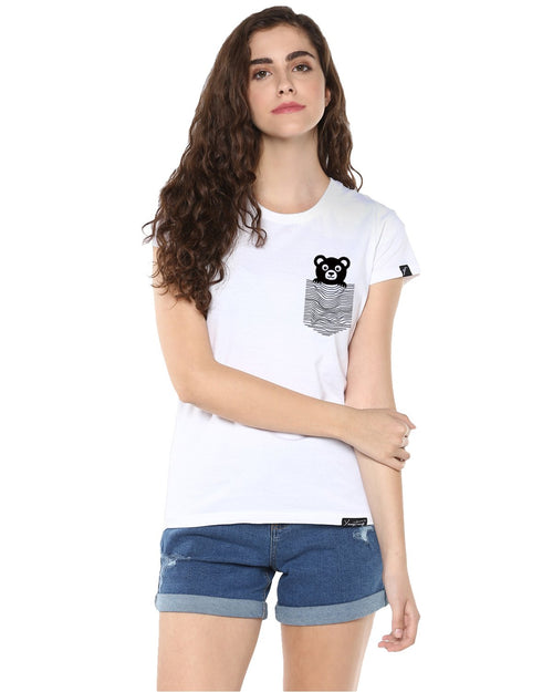 Womens Half Sleeve Teddybear Printed White Color Tshirts