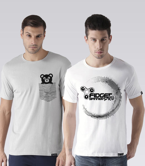 Young Trendz Mens Combo Teddy Steel Grey Color and Prospin White Color Half Sleeve Printed T-Shirts