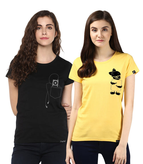 Young Trendz Womens Combo Half Sleeve Tweety Printed Yellow Color and Headphone Printed Black Color Tshirts