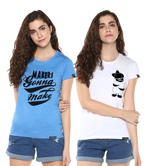 Young Trendz Womens Combo Half Sleeve Tweety Printed White Color and Maker Printed Skyblue Color Tshirts