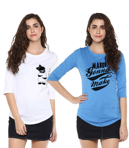 Young Trendz Womens Combo 3/4th Sleeve Tweety Printed White Color and Maker Printed Sky Blue Color Tshirts